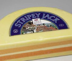 Stripey Jack cheese is like a potpourri of traditional English cheeses; Red Leicester, Double Gloucester, Lancashire, Cheddar and Cheshire are combined in five different layers that make up one cheese.