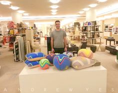 """""""Andrew Yes"""" at Barneys New York with his debut collection of Pillow Spheres & Pillow Squares #andrewyes #BarneysNewYork www.AndrewYes.com"""