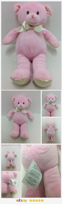 """Beansprout Pink Teddy Bear 11"""" Stitched Eyes Satin Paws Plush Stuffed Animal http://stores.ebay.com/lostlovestoychest"""