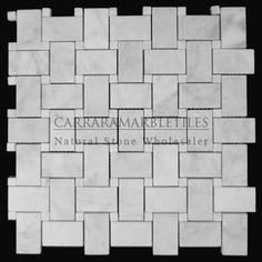 (http://www.carraramarbletiles.com/carrara-marble-italian-white-bianco-carrera-basketweave-mosaic-tile-with-bianco-carrara-dots-honed.html)