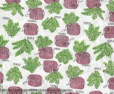 Unusual feedsack fabric with creels and ferns Wonder why ferns and creels? Were they for packing?