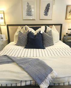 Navy, stripes, texture, prints- we're obsessed. ••••••••••••••••••••••••••••••••••••••••••••••••••••• #layersbeautifubedding #gardnervillage #bedding #linens #pillows #quilts #pillowlove #masterbedroom #inspire_me_home_decor #bedroom #bedroomgoals #bedroomideas #navy #interiors #homestaging #homedecor #homedecorating #flashesofdelight #sodomino #instaroom #classyinteriors #homebeautiful #mydomaine #sodomino #sharemysquare #onetofollow #smploves