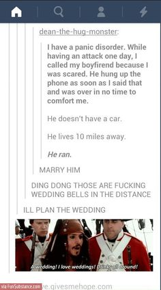"""I love weddings!! Haha The reaction is exactly what I do with everything and everyone. """"Oh, he gave you chocolate? Marry him! Don't worry, I'll plan the whole thing!""""... haha OMG"""