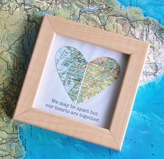 Regalo para novio de larga distancia mapa corazón con texto
