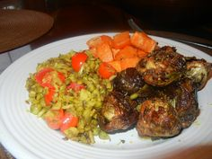 My Kitcheree ( mung beans and rice) with sweet potatoes and roasted brussels sprouts.
