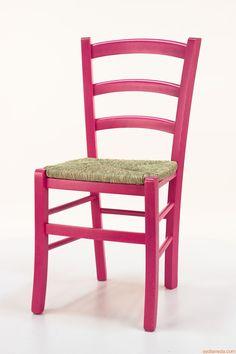Chaise rouge paille tissu Boutique