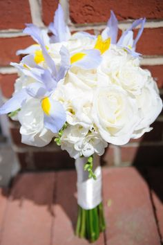 A white & light blue bridal bouquet from Paul & Amy's Simple, Blue & Yellow Frederick Maryland Wedding at The Faux School. Images by Rachel Harrod Photography.