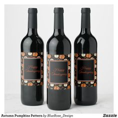 Autumn Pumpkins Pattern Wine Label Thanksgiving Decorations, Happy Thanksgiving, Personalized Wine Labels, Bottle Labels, Photo Quality, Fall Pumpkins, Keep It Cleaner, Party Supplies, How To Apply