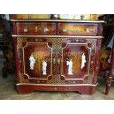 mobilier chinois laqué d'entrée 2 portes 2 tiroirs
