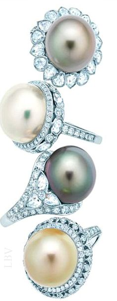 Tiffany & Co.'s pearl and diamond rings recall the glamour of the 1920s. | LBV S14 ♥✤