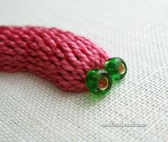 Embroidery: Googly-Eyed Pink Slug in Casalguidi Stitch - Really Raised Stem Stitch