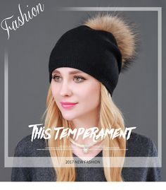 378fc5179451 Autumn Winter Knitted Wool Hats For Women Fashion Pompon Beanies Fur Hat  Female Warm Caps With Natural Genuine Raccoon Fur Cap