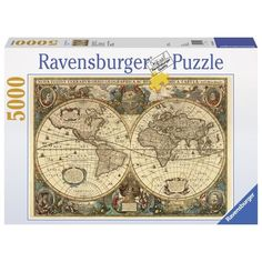 Ravensburger 17411 Colourful High Quality Old Globe 5000 Pieces Jigsaw Puzzle Antique World Map, Old World Maps, Vintage World Maps, Tour Eiffel, World Map Puzzle, Chateau Disney, Puzzle Ravensburger, Discount Toys, Puzzles 3d