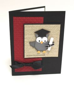 Use a wise old owl punch to hand deliver your graduation wishes on this classy red and black handmade card.