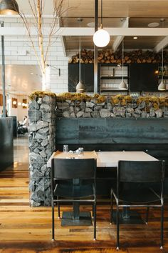 Butchertown Hall, Nashville TN Bar Interior Design, Industrial Interior Design, Industrial Interiors, Commercial Interior Design, Industrial House, Commercial Interiors, Built In Seating, Steel Wall, Furniture Layout