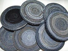 Recycled denim coasters, made with the inside seams from old jeans. Tutorial.