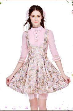 2016春裝新款女裝立領七分袖刺繡印花連衣裙修身顯瘦拼接a字裙子-tmall.com天貓