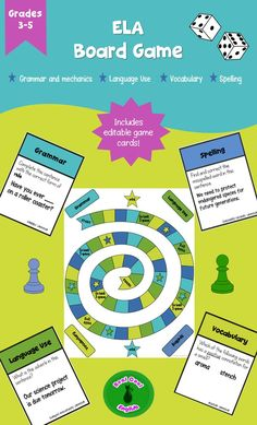 With this language arts board game, students have fun while reviewing grammar, language use, vocabulary, and spelling concepts! This is great for anytime review, but especially beginning of year, end of year, test prep, and before or after a long break from school. This is aimed at grades 3-5, but it is also perfect for adult ESL as the topics and questions are appropriate for any age group.