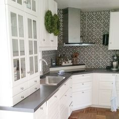 ikea bodbyn - Google Search love the white cabinets with grey counters. need glass subway tile backsplash (blue/green)