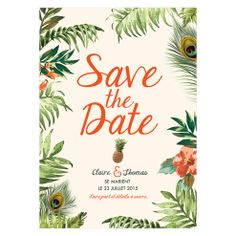Jungle Tropicale - Save the Date - Shit, I have to plan a wedding - Mariage Best Marriage Advice, Save My Marriage, Wedding Paper, Wedding Cards, Marriage Seminars, Tropical Party, Wedding Save The Dates, Hawaii Wedding, Wedding Planning