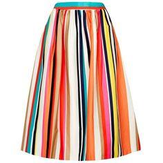 Womens Midi Skirts Alice + Olivia Nikola Striped Stretch Cotton Midi... found on Polyvore featuring skirts, multi colored skirt, alice olivia skirt, stripe midi skirt, colorful skirts and stripe skirt
