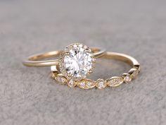 2pcs 1ct Moissanite Bridal Ring Set,Engagement ring Yellow Plain gold,Art Deco Diamond wedding band,6.5mm Round stone Promise Ring,Inifinity by popRing on popRing