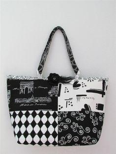 Elegant Black and White Tote - MEDIUM. $40.00, via Etsy.