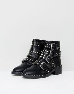 Glamorous | Glamorous Black Studded Buckle Flat Ankle Boots
