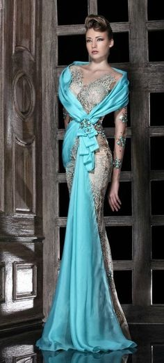 oh my I wish this was in my closet turquoise drape lace gown