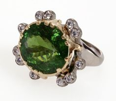 Audrius Krulis ring in & with green tourmaline and white diamonds. Birthstones By Month, Jewelry Gifts, Fine Jewelry, October Birth Stone, Green Tourmaline, Spring 2014, Shades Of Green, Heart Ring, Sculptures