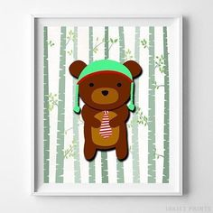 Woodland Bear White Background posters by Inkist Prints! This unique nursery decor print will make a great addition to any nursery and kids room. It would also be a great gift for baby shower and birthday. Baby Room Wall Art, Nursery Artwork, Nursery Room Decor, Nursery Prints, Room Posters, Animal Nursery, Bear Nursery, Baby Prints, Artwork Prints