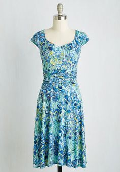 Ready, Wheeling, and Able Dress in Irises. Being the cycling enthusiast that you are, your local bike shop has nominated you to host their upcoming charity event - and youve got the perfect dress for it! #blue #modcloth