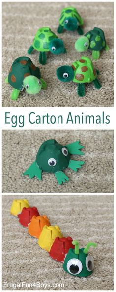 Egg Carton Animal Crafts - Make turtles, frogs, and caterpillars! Fun project for kids. #recyclingforkids