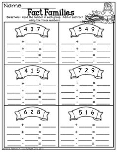 Worksheet Fact Family Worksheets 2nd Grade fact families worksheets and facts on pinterest families