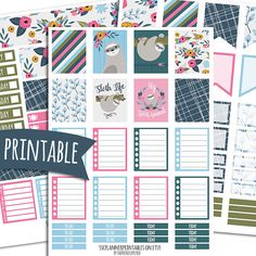 Sloth PRINTABLE Planner Stickers for Erin Condren Vertical | Sticker Printables | Happy Planner Stickers | Lazy Day Stickers | Sloth Sticker