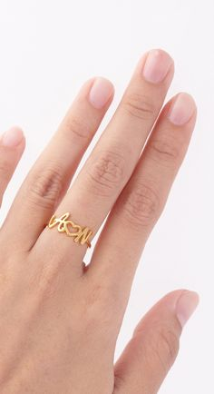 This Skinny Gold Infinity ring is definitely a new favorite! I twist a length of Gold-filled metal into a circular shape and lightly hammer it. Bracelet Initial, Initial Jewelry, Gold Jewelry, Jewelery, Unique Jewelry, Jewelry Design, Initial Rings, Jewelry Tags, Name Rings