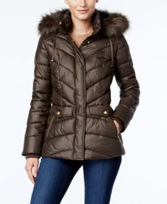 Jones New York Faux-Fur-Trim Hooded Puffer Coat | macys.com