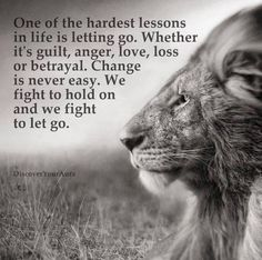 One of the hardest lessons in life is letting go. Whether it's guilt, anger, love, loss or betrayal. Change is never easy. We fight to hold on and we fight to let go. Wisdom Quotes, Quotes To Live By, Me Quotes, Wall Quotes, Spiritual Quotes, Let Her Go Quotes, Fight Quotes, Spiritual Thoughts, Happiness Quotes