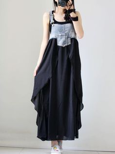 Spaghetti Strap Asymmetric Hem Patchwork Color Block Maxi Dress-Berrylook #cheapmaxidresses #cutemaxidresses