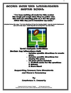 """In keeping with the spirit of the end of football season, I am offering this literature review product, """"Score With the Literature Super Bowl.""""  This comprehension analysis activity not only checks students' understanding of facts, ideas and details, but it also assesses their analytic and interpretive comprehension, ergo, it develops their higher level thinking skills.  #Fiction Assessment Game  #FREE  #ELA activity  #TpT"""
