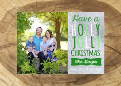 Have a Holly Jolly Christmas Custom Card, 5x7 Family Holiday Card, Green and Silver, Includes Family Photo & Family Names, Gray Frames by GrayFrames on Etsy