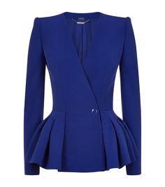 Alexander McQueen Blue Leaf Crepe Peplum Jacket | Harrods