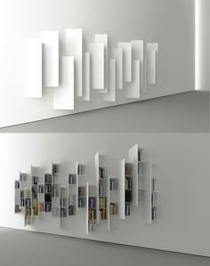 Já tinha visto em Milão em 2013 na Boffi. CTline bookshelf designed by Victor Vasilev. From a particular angle, this construction looks nothing like a bookshelf, but rather a minimalistic art installation. - My Interior Design Ideas Creative Bookshelves, Bookshelf Design, Minimalist Bookshelves, Modern Bookshelf, Modern Shelving, Deco Design, Design Case, Interior Architecture, Interior And Exterior