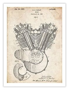 HARLEY DAVIDSON 1923 MOTORCYCLE ENGINE POSTER US Patent Art Poster Print HD Vintage H-D Reproduction Gift, 18 by 24 inches Steves Poster Store http://www.amazon.com/dp/B00IA4EWXO/ref=cm_sw_r_pi_dp_wpcJvb0Z785ST