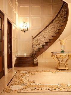 Grand Foyer - traditional - Entry - New York - Aaron Bornstein & Associates - beautiful railing! Wrought Iron Stair Railing, Iron Staircase, Staircases, Hand Railing, Entry Stairs, House Stairs, Railing Design, Staircase Design, Stair Design