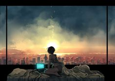 Anime picture with original kyouichi (artist) short hair light erotic black hair sitting looking away barefoot bare legs city evening sunset landscape scenic cityscape indoors wariza off shoulder horizon strap slip 1366x768 Wallpaper Hd, Graphisches Design, Sunset Landscape, Sky And Clouds, Anime Artwork, Anime Scenery, Beautiful Artwork, Fantasy Art, Cool Art