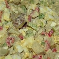 The Best Potato Salad Allrecipes.com- I always leave out the black olives- but the ranch and pepperoncinis make it so yummy!