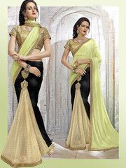 Black, Golden & Pastel Green Color Half Shimmer Georgette Foil & Half Wrinkle Chiffon Ready To Wear Wear Sarees : Veena Collection  YF-42759