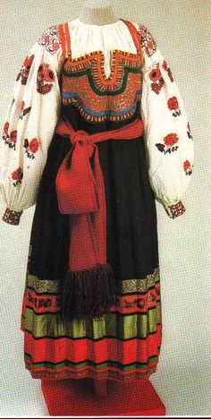 "The Russian women's costume was based on the ""sarafan"" (a kind of sleeveless dress). The ""sarafan"" ensemble became widespread in Russia at the turn of the 18th century and comprised a shirt, ""sarafan"", belt, and apron. This costume was especially typical of the northern and central regions penetrating with time into the other parts of Russia where it ousted the local traditional dress. In the 18th century it was already associated with the Russian national costume. The ""sarafan"" was a daily…"