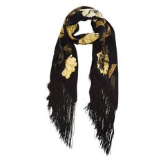 Rockins Women's Flora Classic Skinny Fringed Scarf - Gold (2.758.275 IDR) ❤ liked on Polyvore featuring accessories, scarves, gold shawl, fringe scarves, gold scarves and fringe shawl
